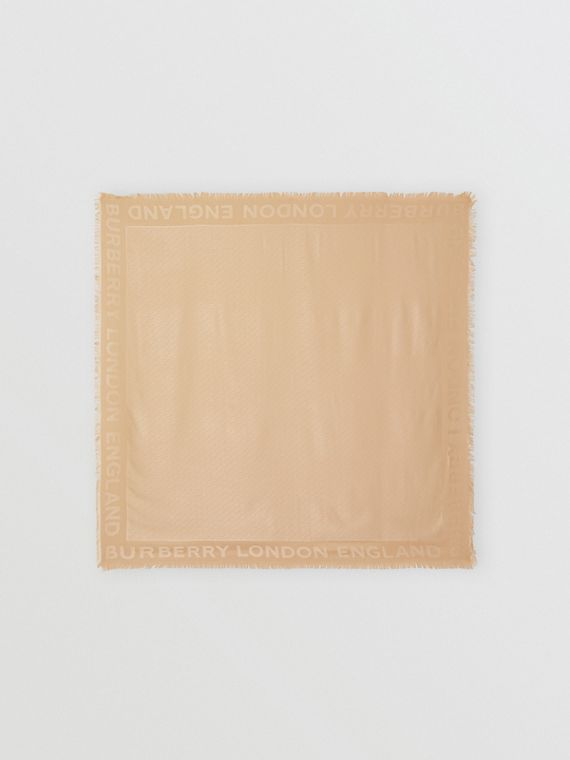 Monogram Silk Wool Jacquard Large Square Scarf in Honey