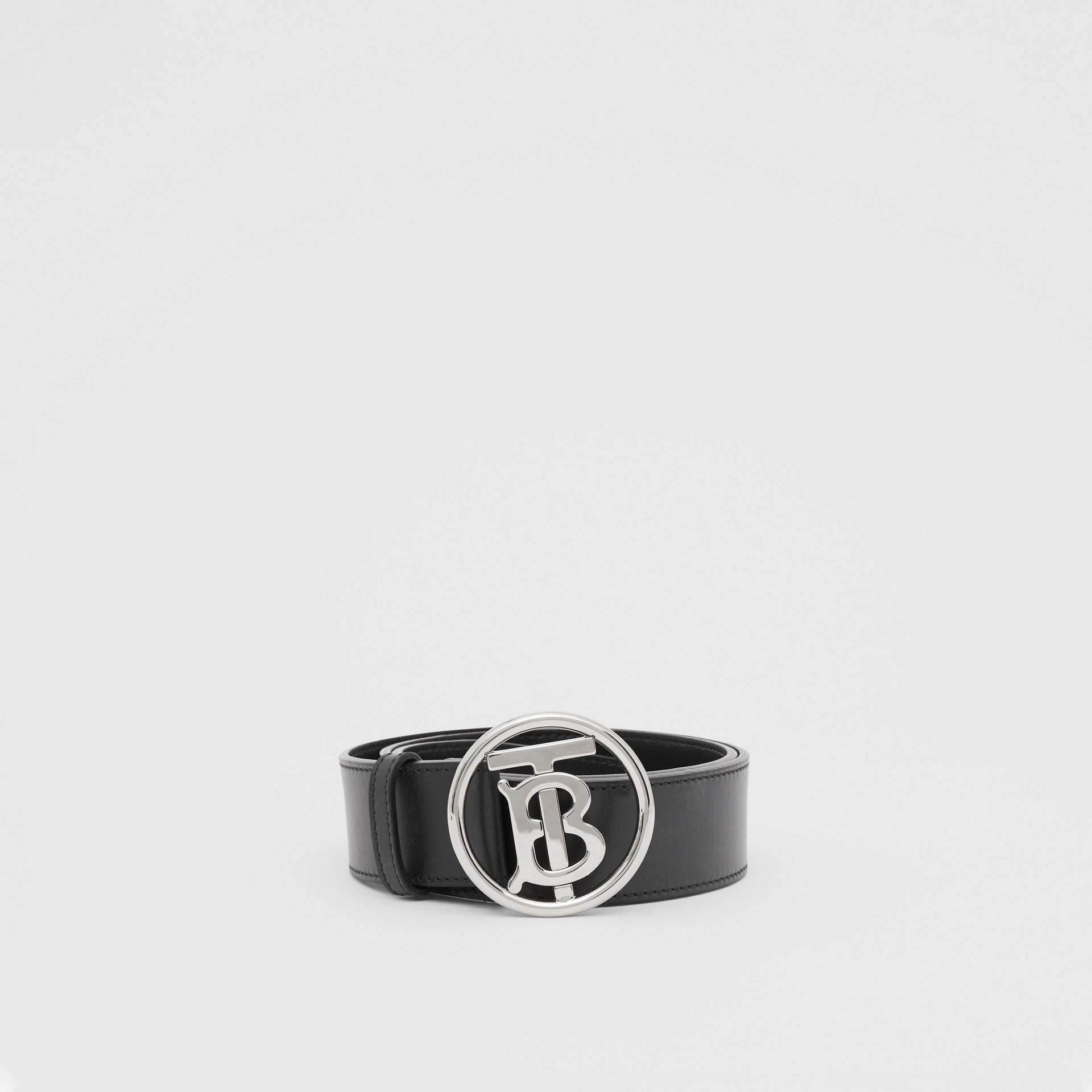 Monogram Motif Leather Belt in Black - Men | Burberry - gallery image 2