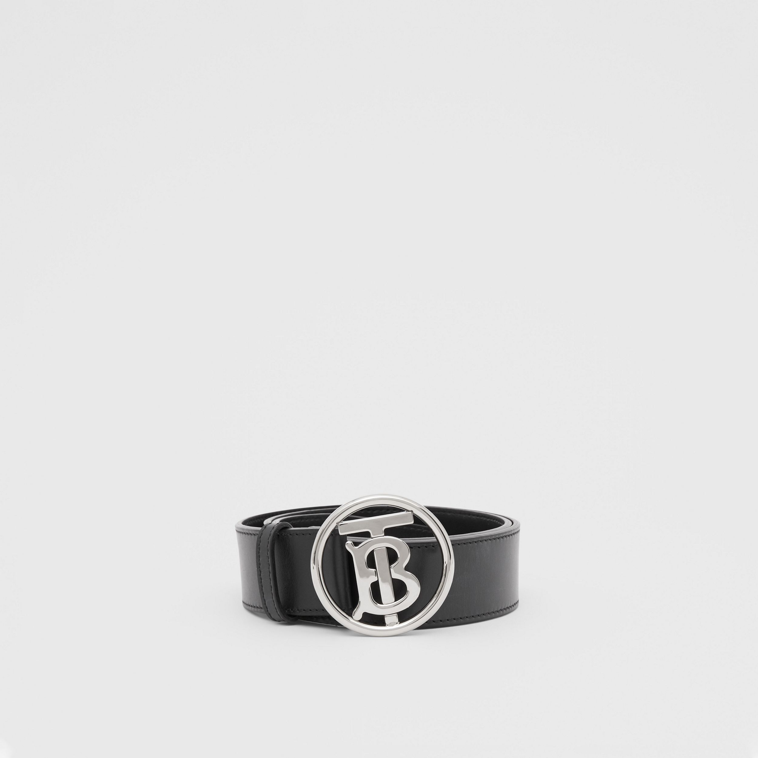 Monogram Motif Leather Belt in Black - Men | Burberry - 3