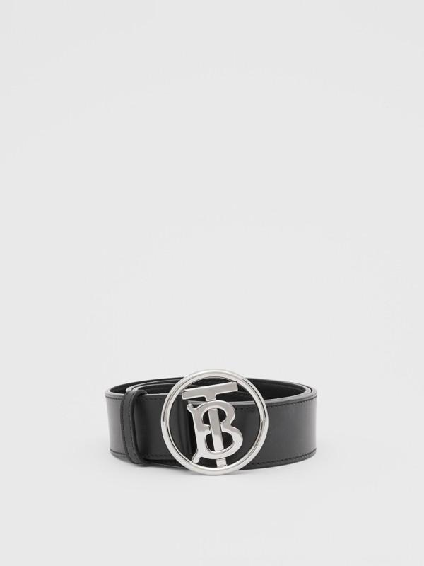 Monogram Motif Leather Belt in Black - Men | Burberry - cell image 2