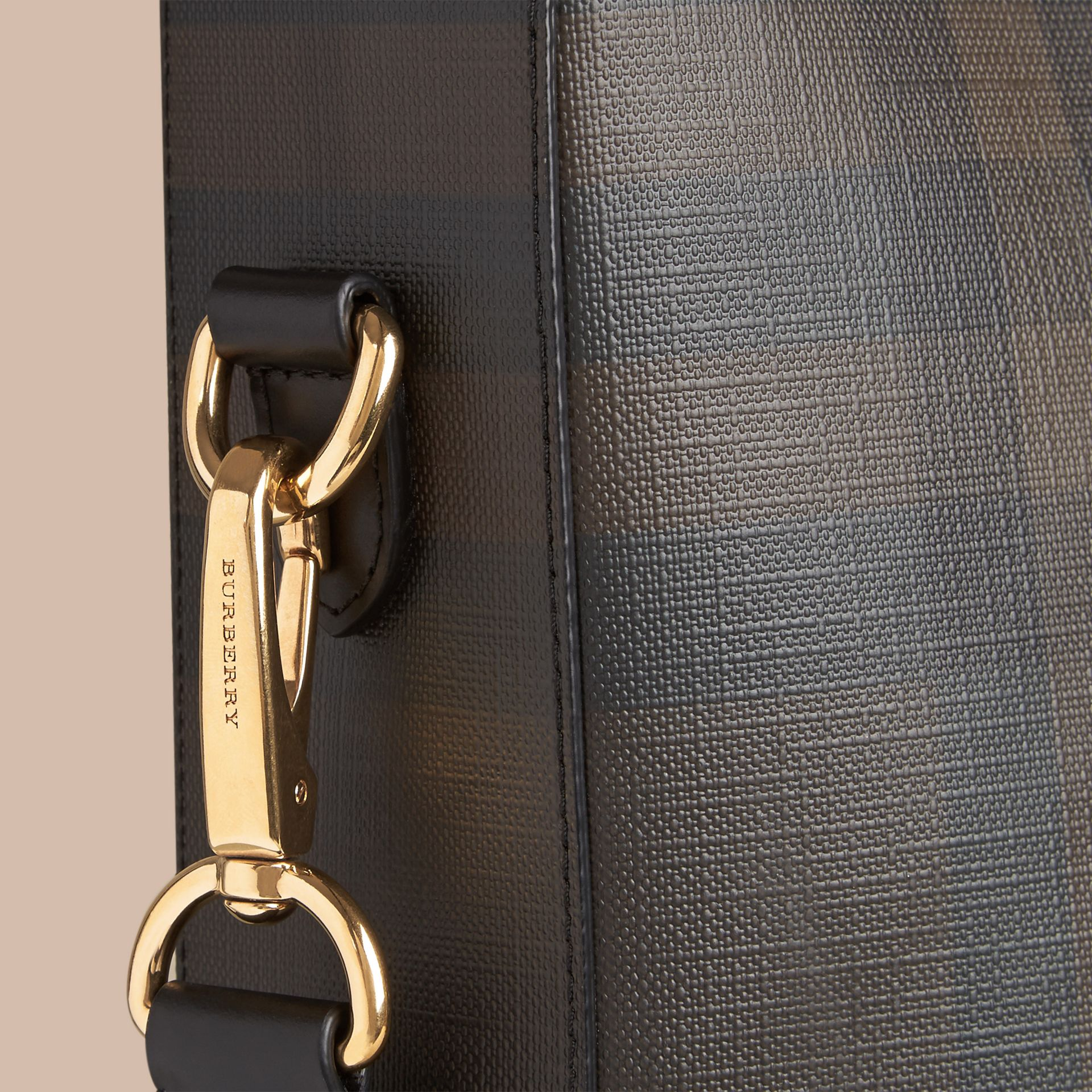 London Check Tote Bag in Black/chocolate - Men | Burberry Canada - gallery image 1