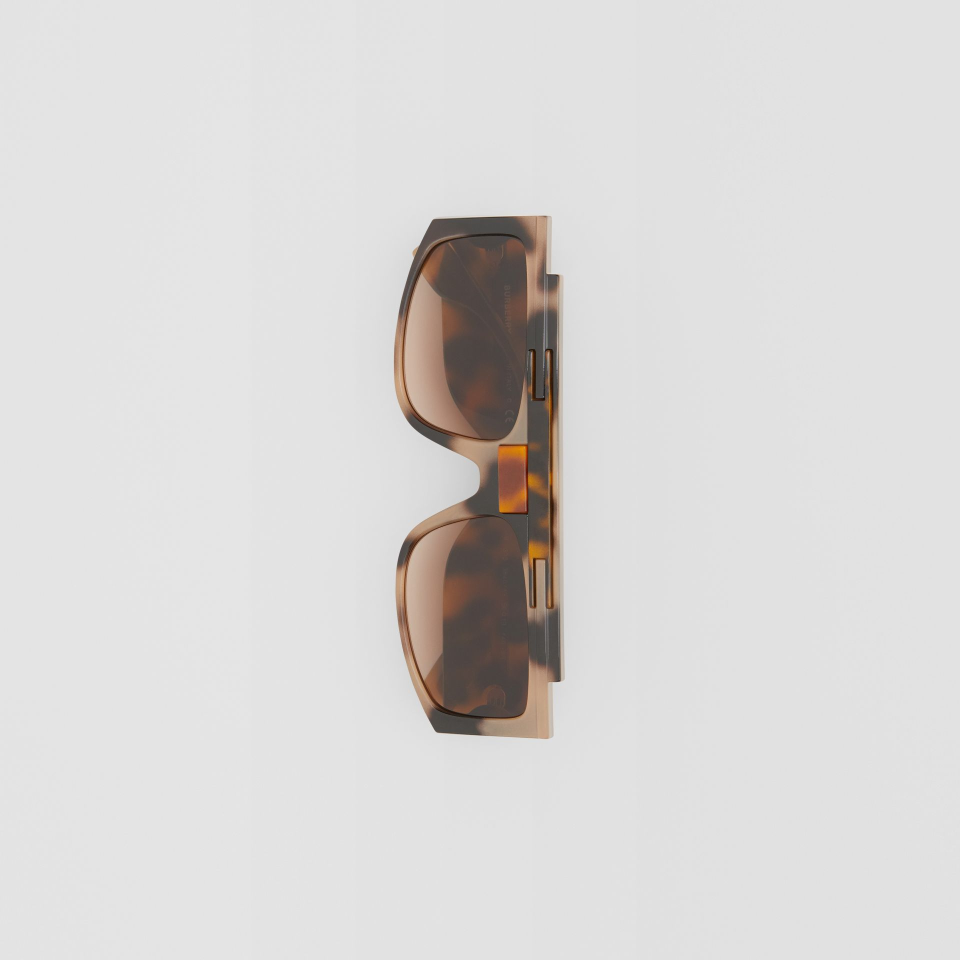 Rectangular Frame Sunglasses in Tortoiseshell - Women | Burberry - gallery image 2