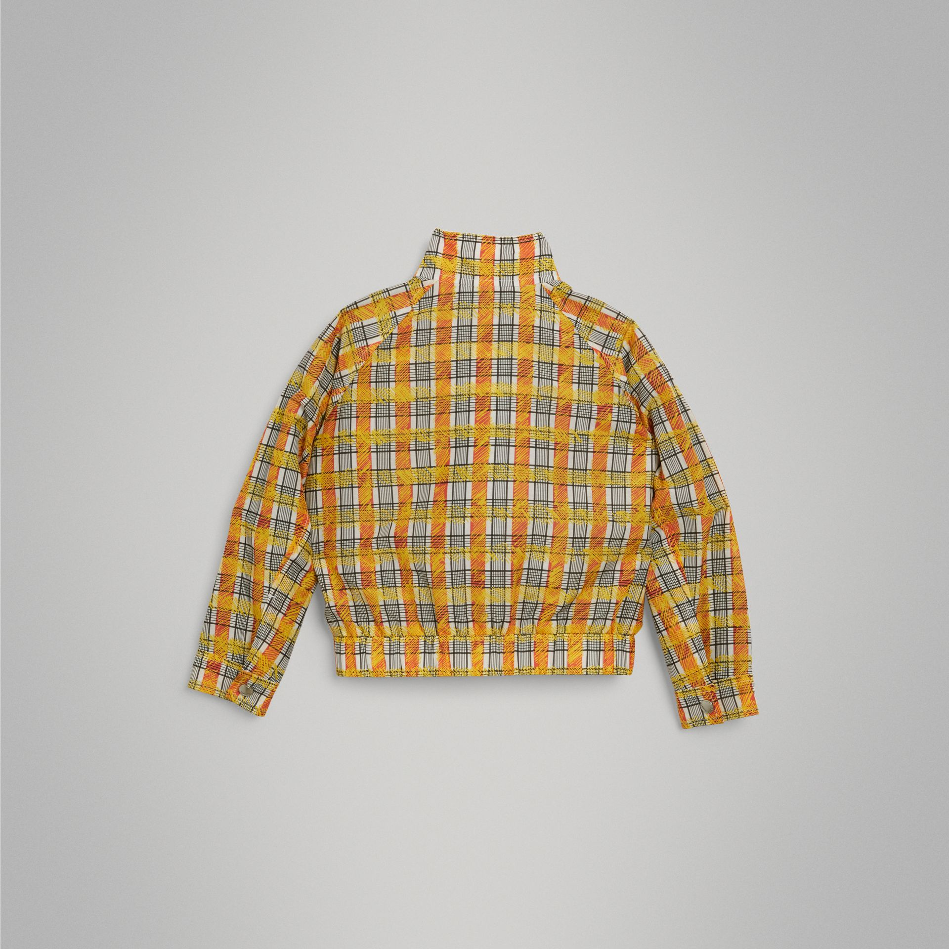 Scribble Check Cotton Silk Harrington Jacket in Bright Yellow | Burberry - gallery image 3