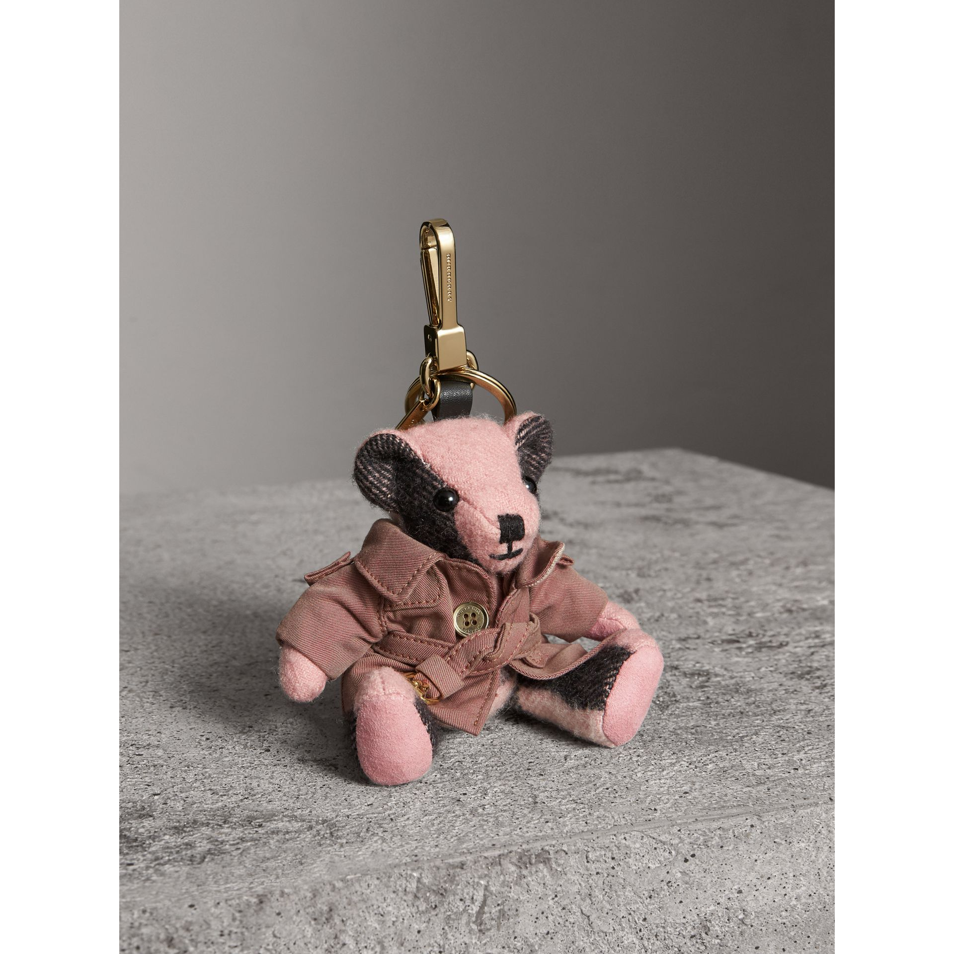 Thomas Bear Charm with Tropical Gabardine Trench Coat in Ash Rose - Women | Burberry United States - gallery image 1