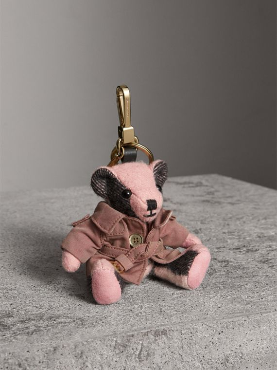 Thomas Bear Charm with Tropical Gabardine Trench Coat in Ash Rose