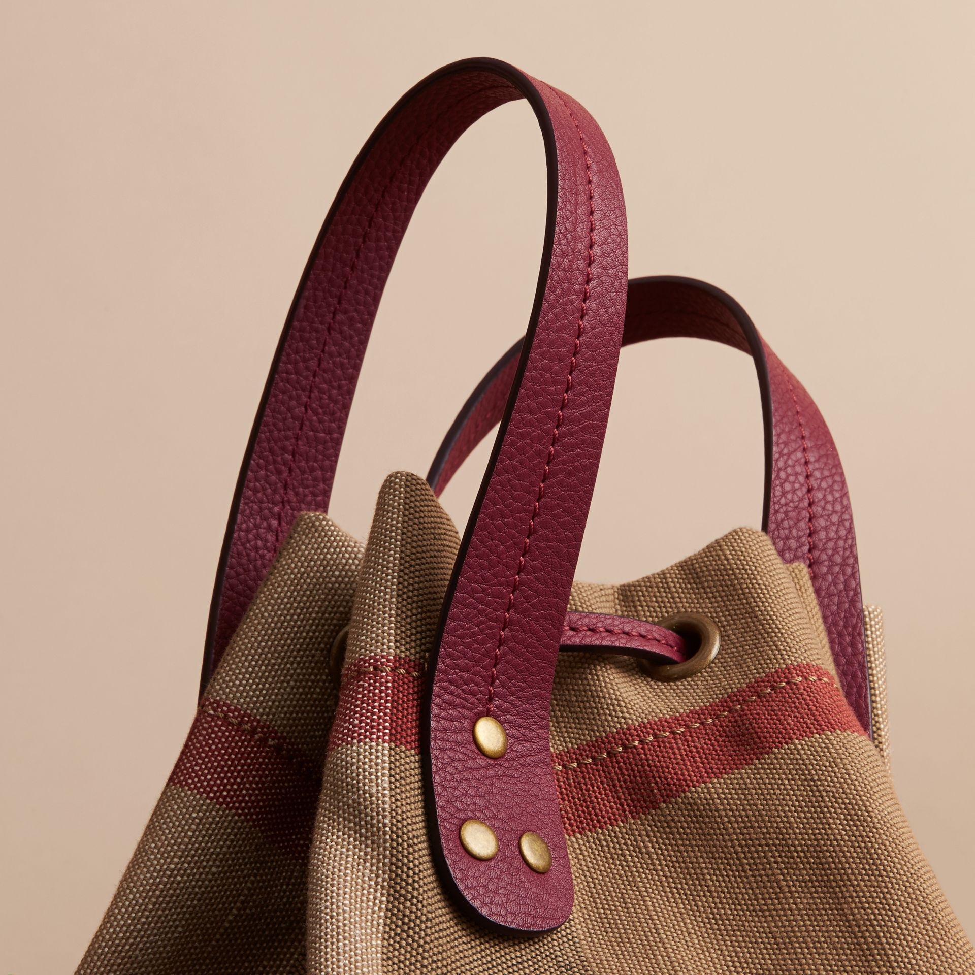 Medium Canvas Check and Leather Bucket Bag in Burgundy Red - Women | Burberry Hong Kong - gallery image 2