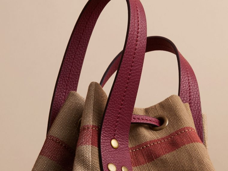 Medium Canvas Check and Leather Bucket Bag in Burgundy Red - Women | Burberry - cell image 1