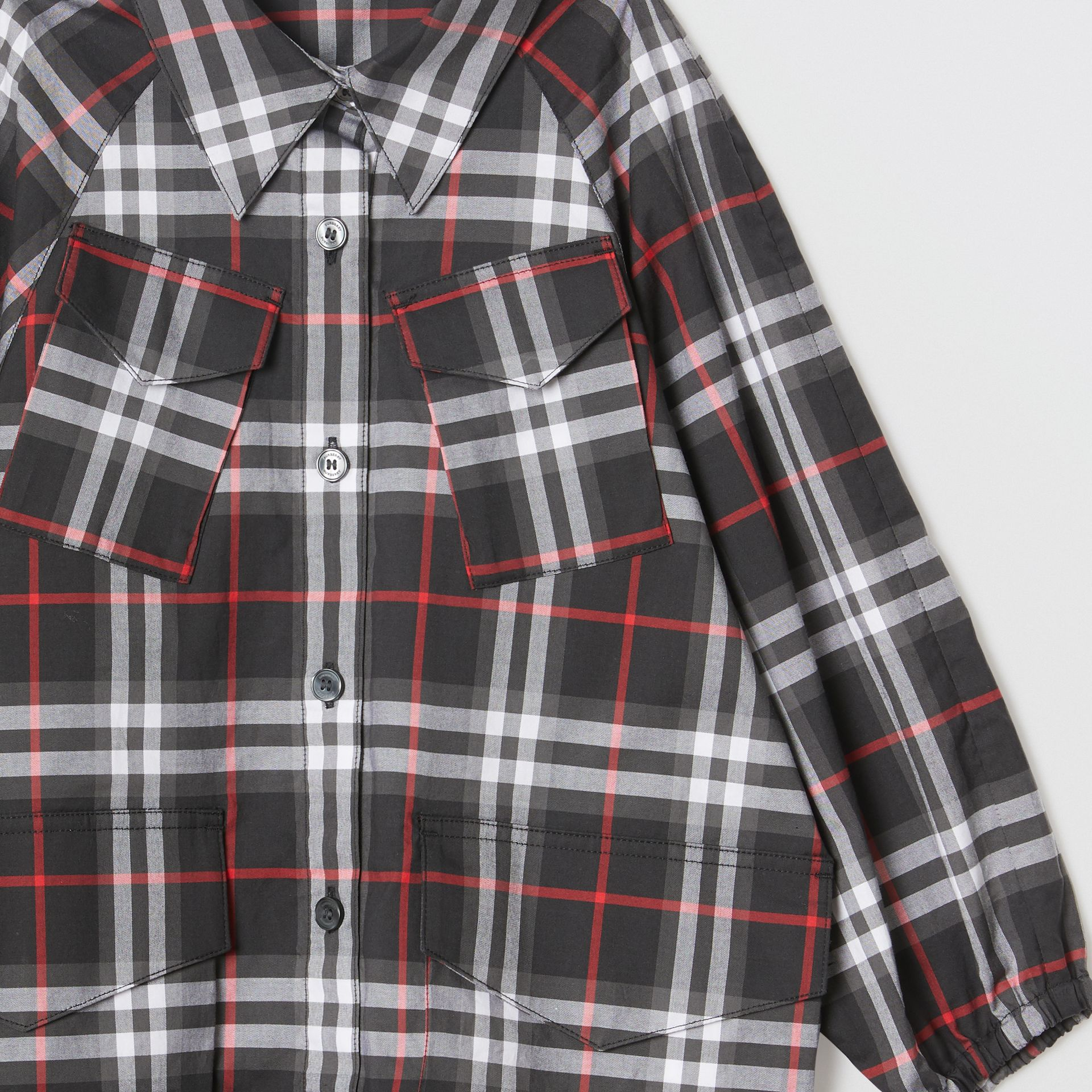 Vintage Check Cotton Shirt Dress in Black | Burberry United States - gallery image 5