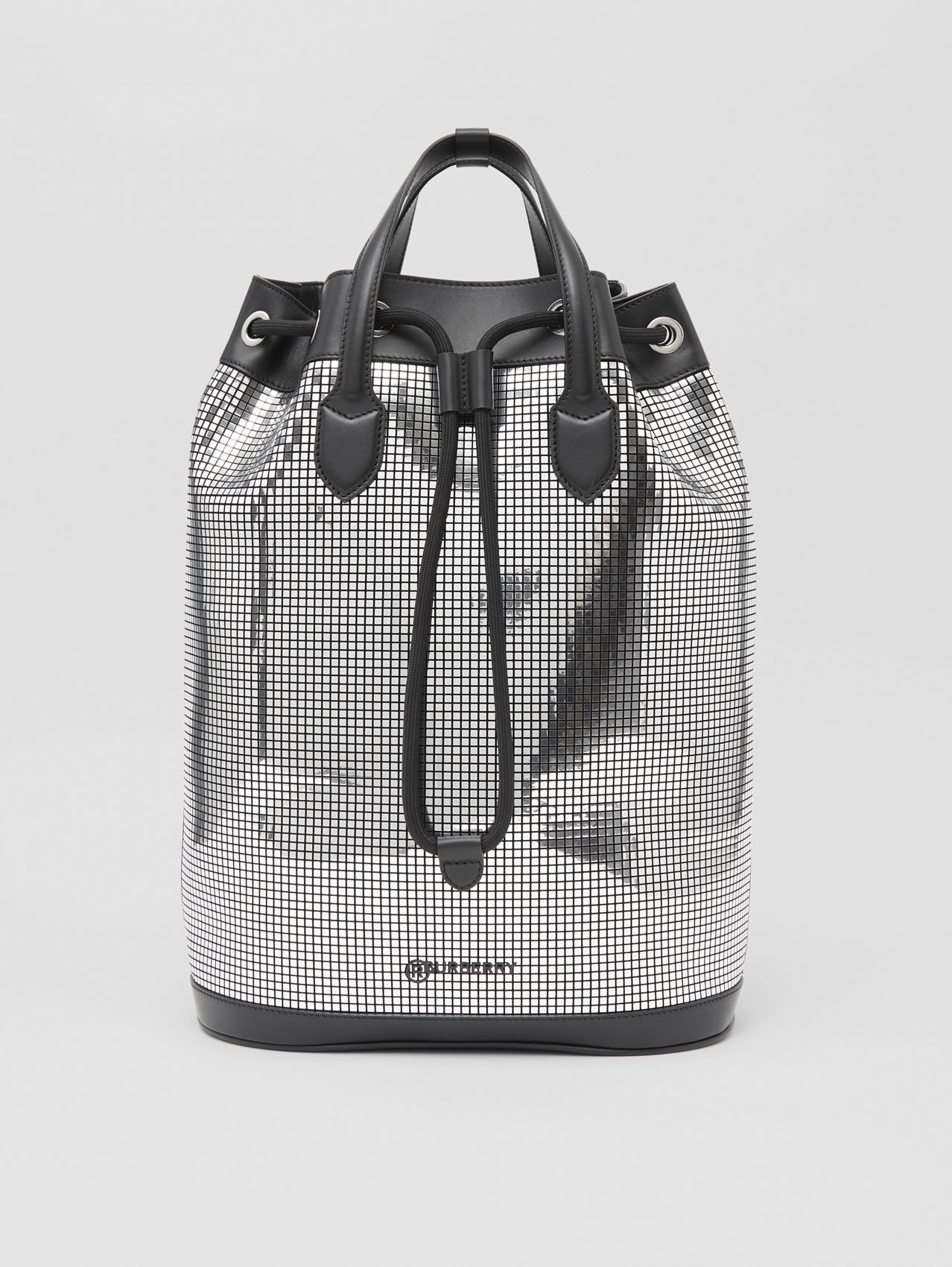 Mirrored Suede and Leather Drawcord Backpack in Silver/black