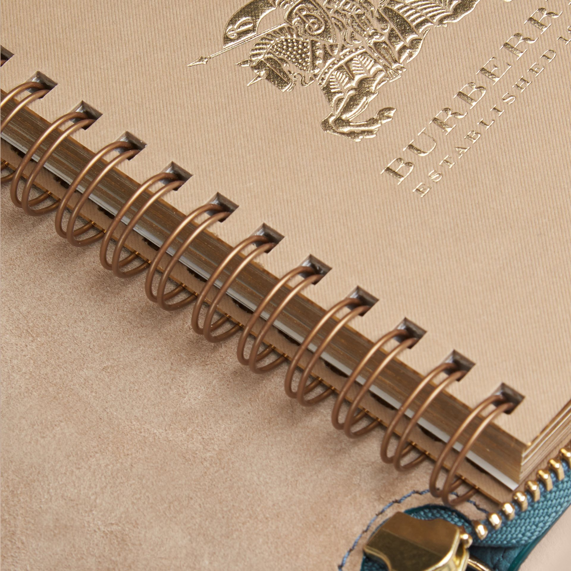 Ziparound Grainy Leather Mini Notebook in Dusty Teal | Burberry - gallery image 5