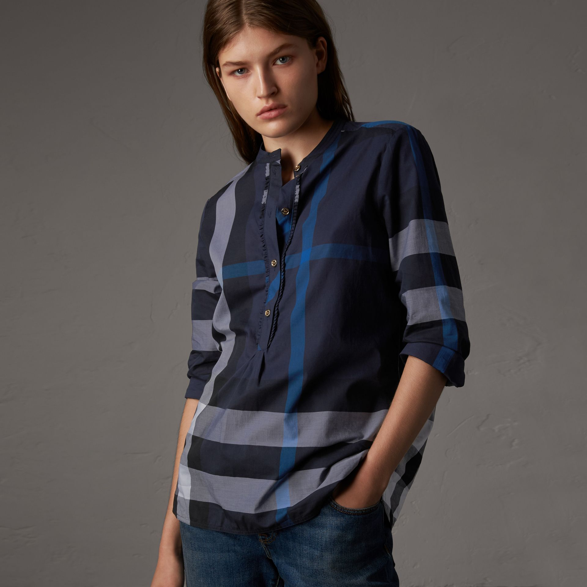 Check Grandad Collar Shirt in Navy - Women | Burberry United Kingdom - gallery image 0