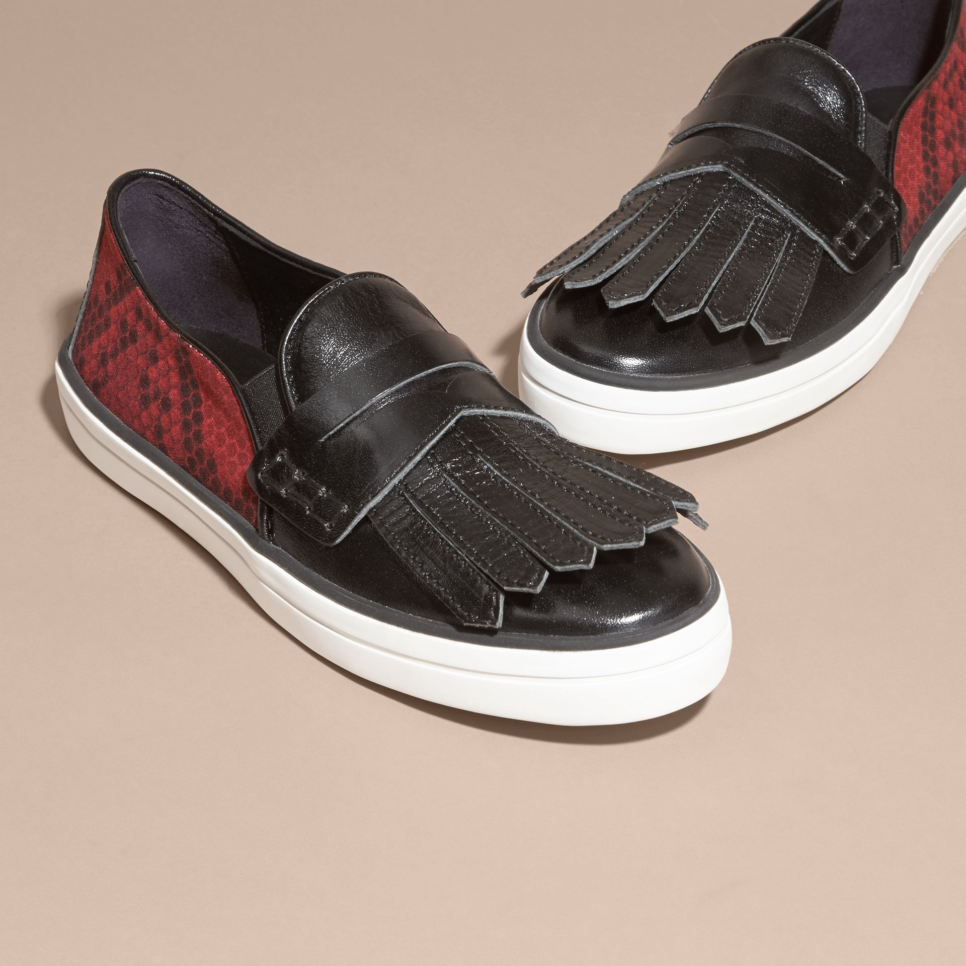 Black/windsor red Python Print Cotton and Leather Trainers Black/windsor Red - gallery image 3