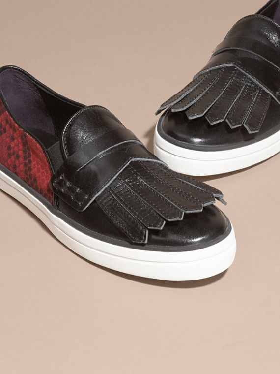Black/windsor red Python Print Cotton and Leather Trainers Black/windsor Red - cell image 2