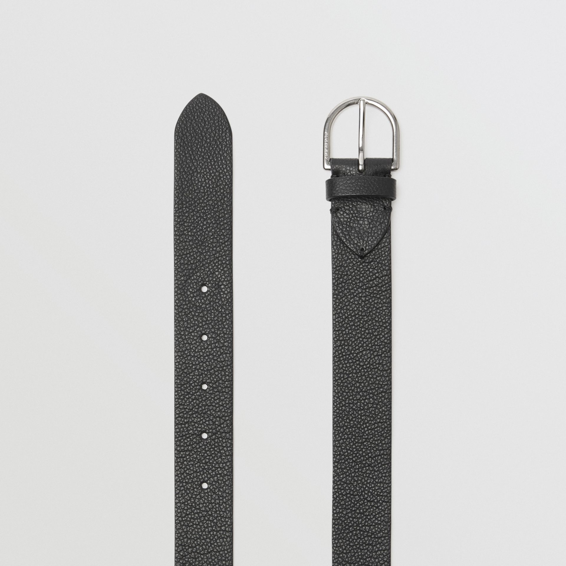 D-shaped Buckle Grainy Leather Belt in Black - Men | Burberry - gallery image 5