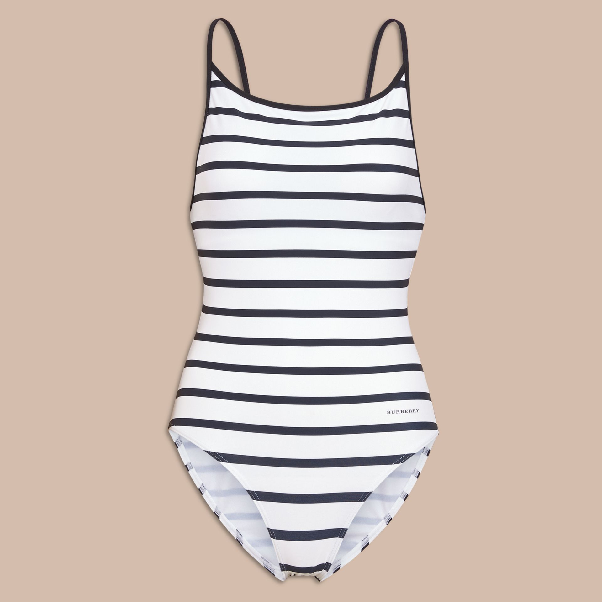 Breton Stripe Swimsuit in Navy - Women | Burberry - gallery image 1