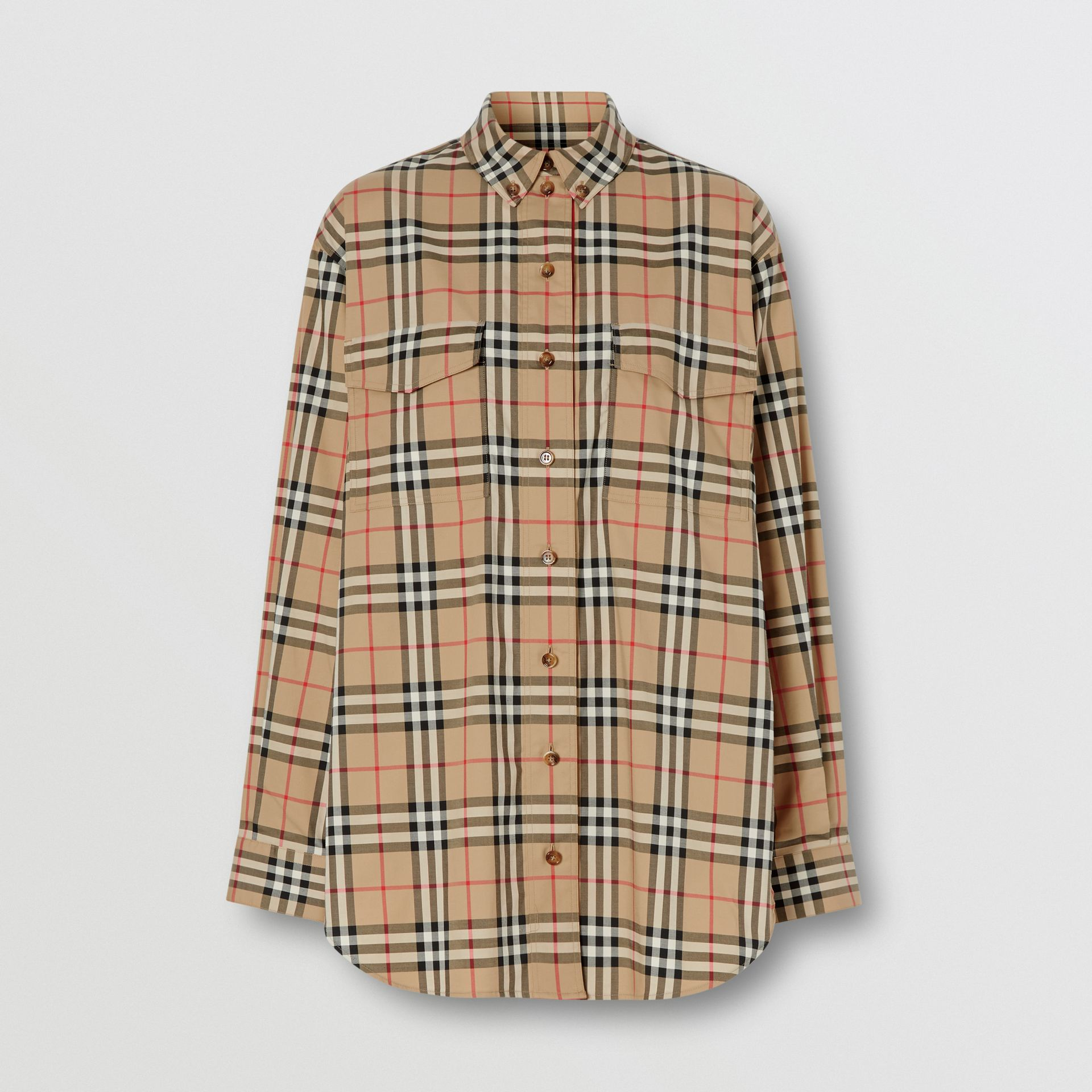 Vintage Check Stretch Cotton Oversized Shirt in Archive Beige - Women | Burberry - gallery image 3