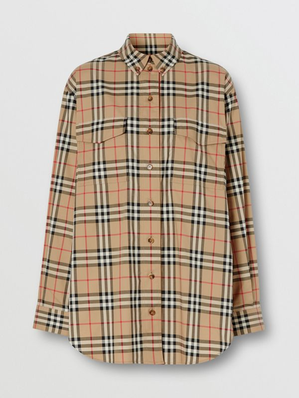 Vintage Check Stretch Cotton Oversized Shirt in Archive Beige - Women | Burberry United States - cell image 3