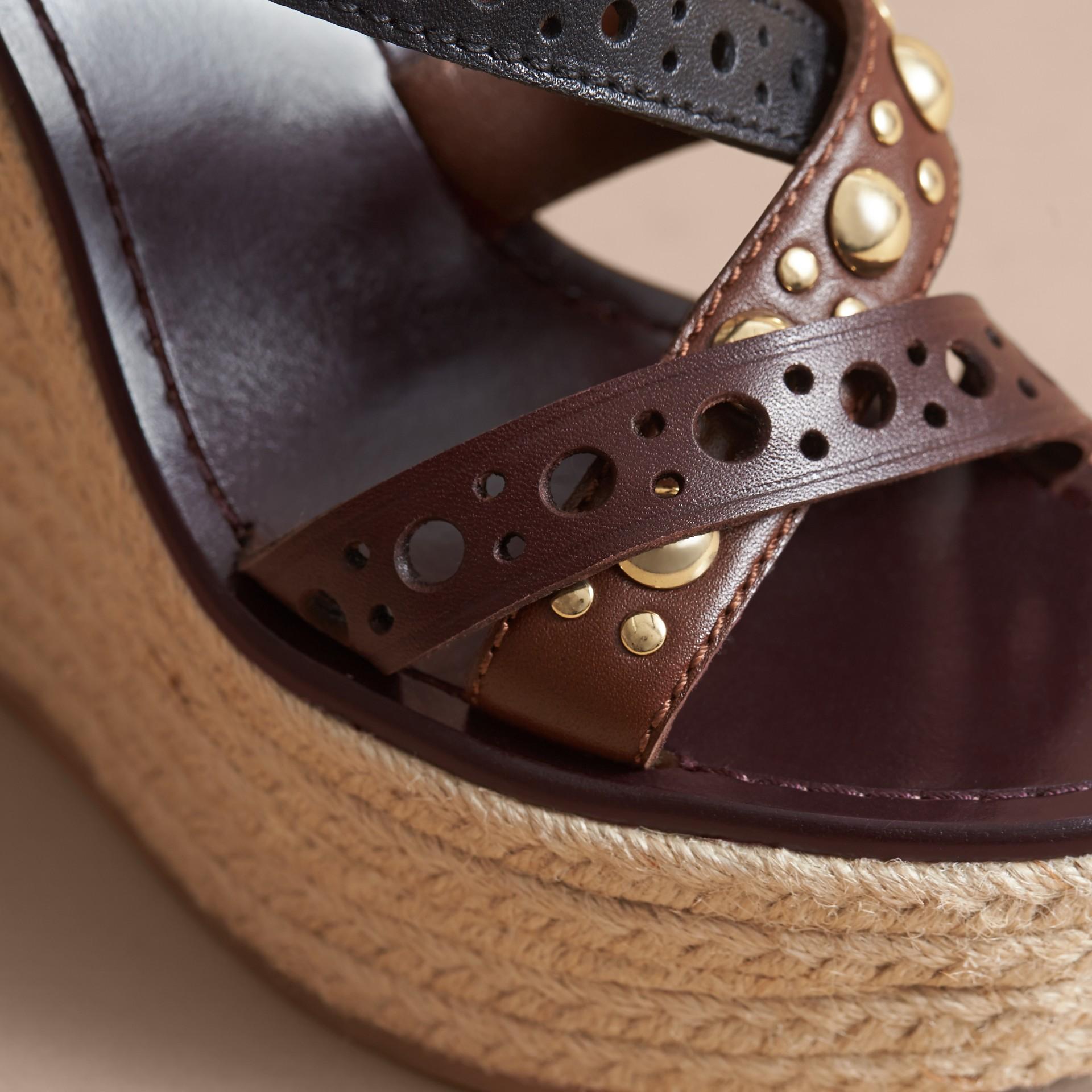 Riveted Leather Platform Espadrille Wedge Sandals - gallery image 5