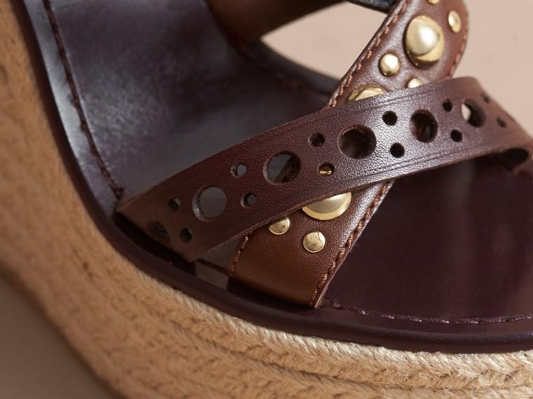 Riveted Leather Platform Espadrille Wedge Sandals - cell image 4