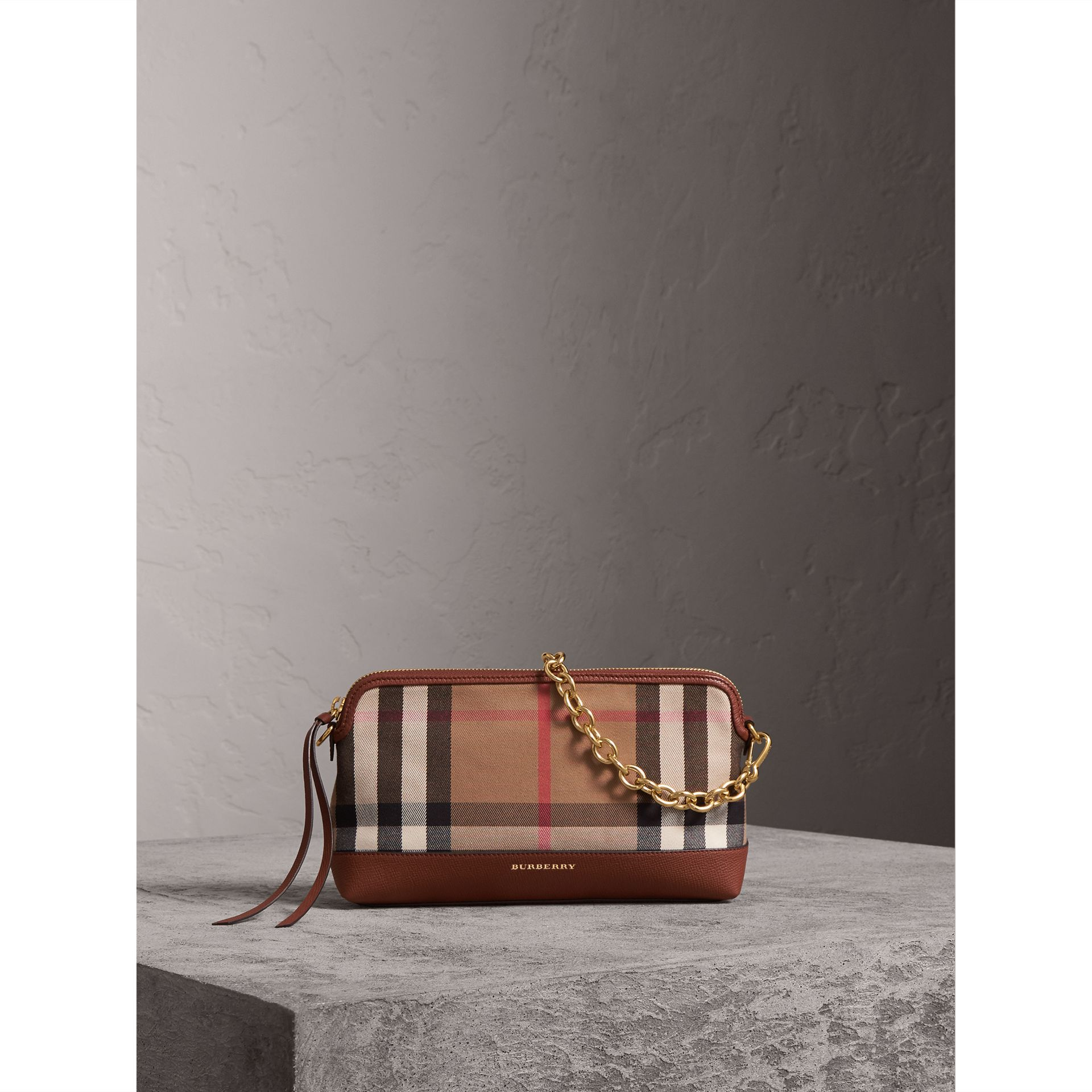 House Check and Leather Clutch Bag in Tan - Women | Burberry - gallery image 1