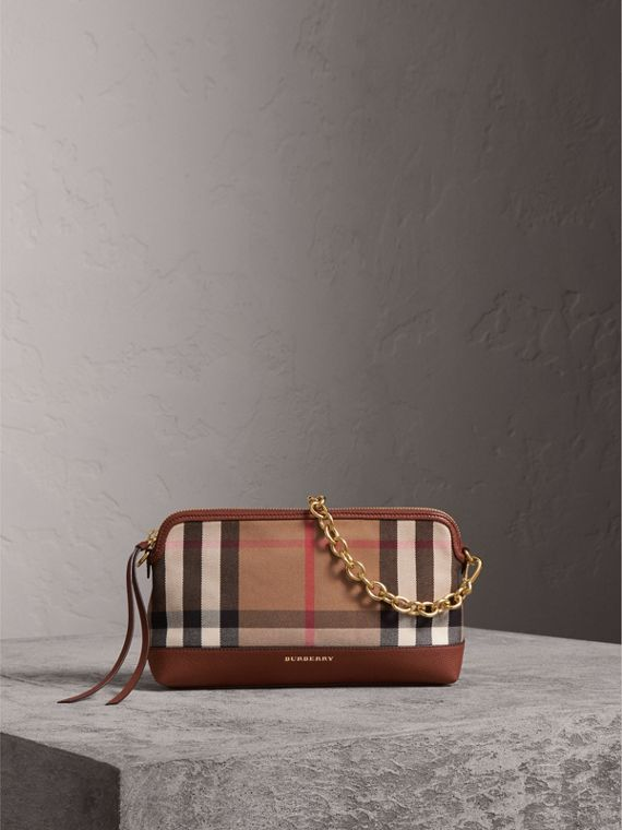 House Check and Leather Clutch Bag in Tan - Women | Burberry