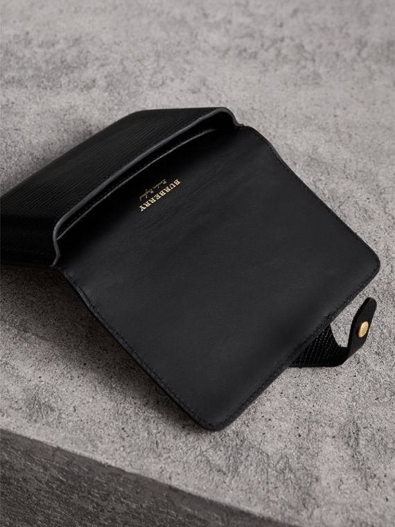 Equestrian Shield Riveted Lizard Phone Case in Black | Burberry United Kingdom - cell image 3