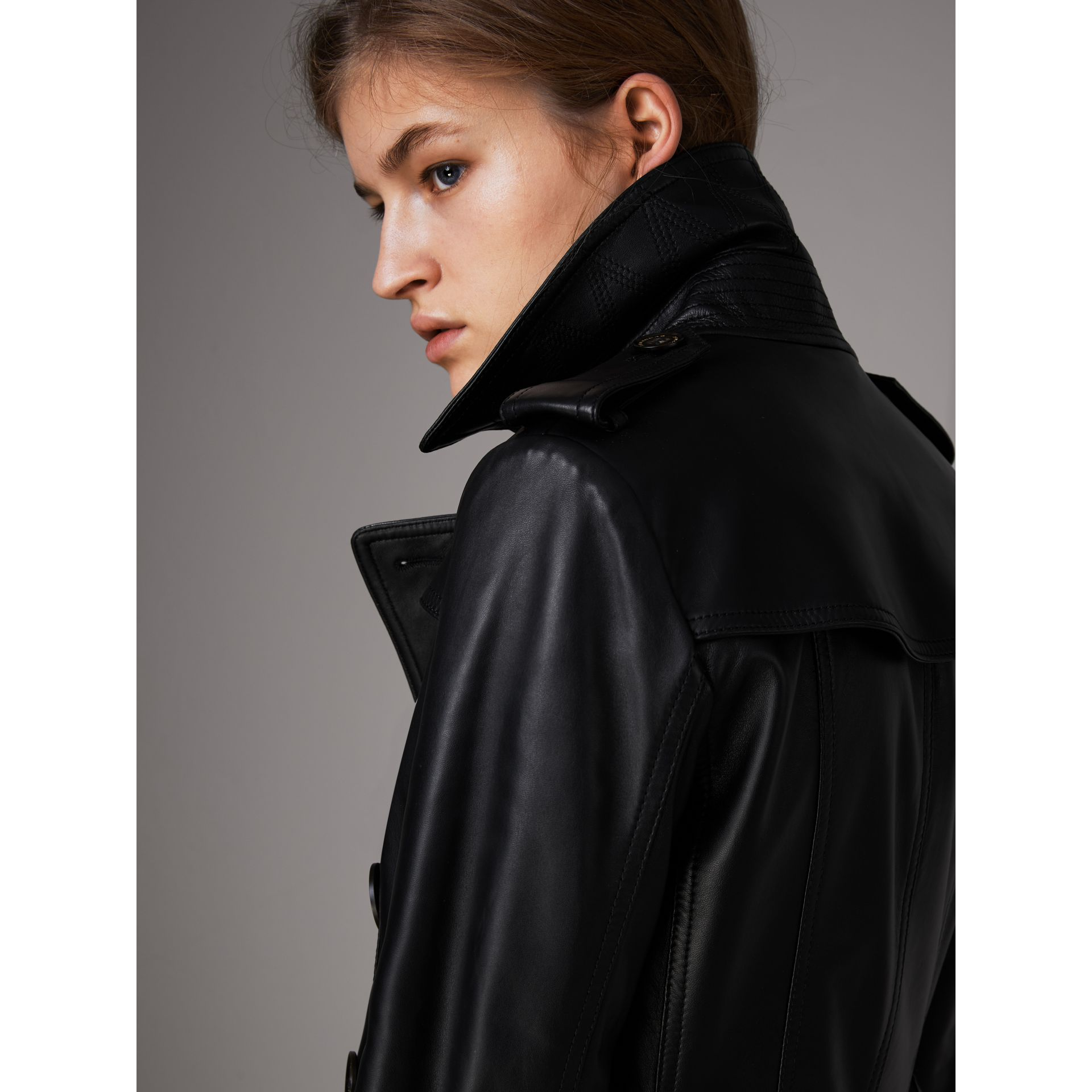 Lambskin Trench Coat in Black - Women | Burberry - gallery image 5