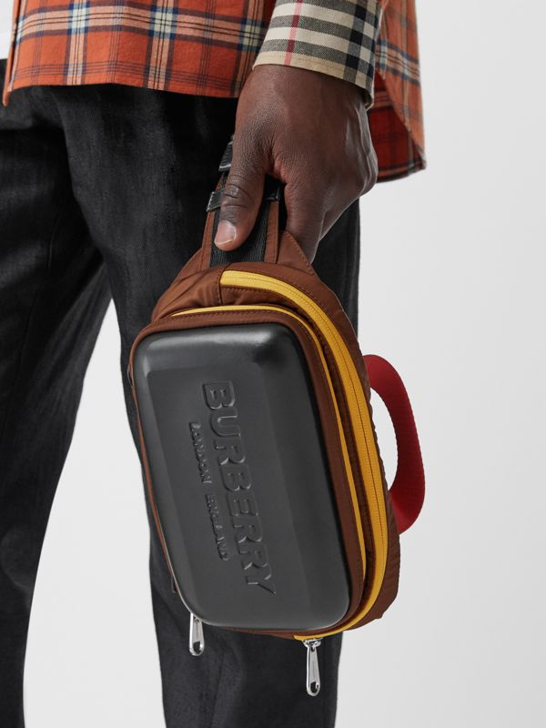 Logo Embossed Panel Nylon Bum Bag in Black - Men | Burberry Canada - cell image 2