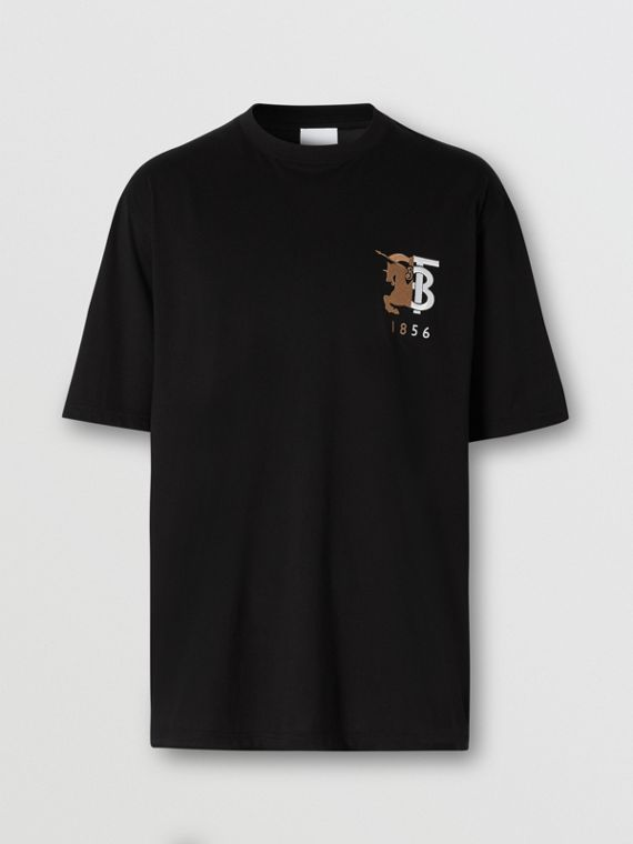 Contrast Logo Graphic Cotton T-shirt in Black