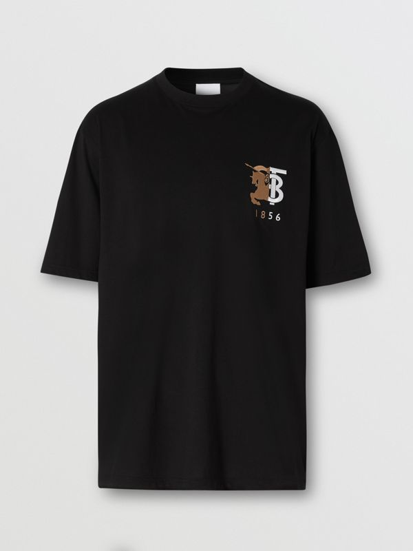Contrast Logo Graphic Cotton T-shirt in Black - Men | Burberry - cell image 3