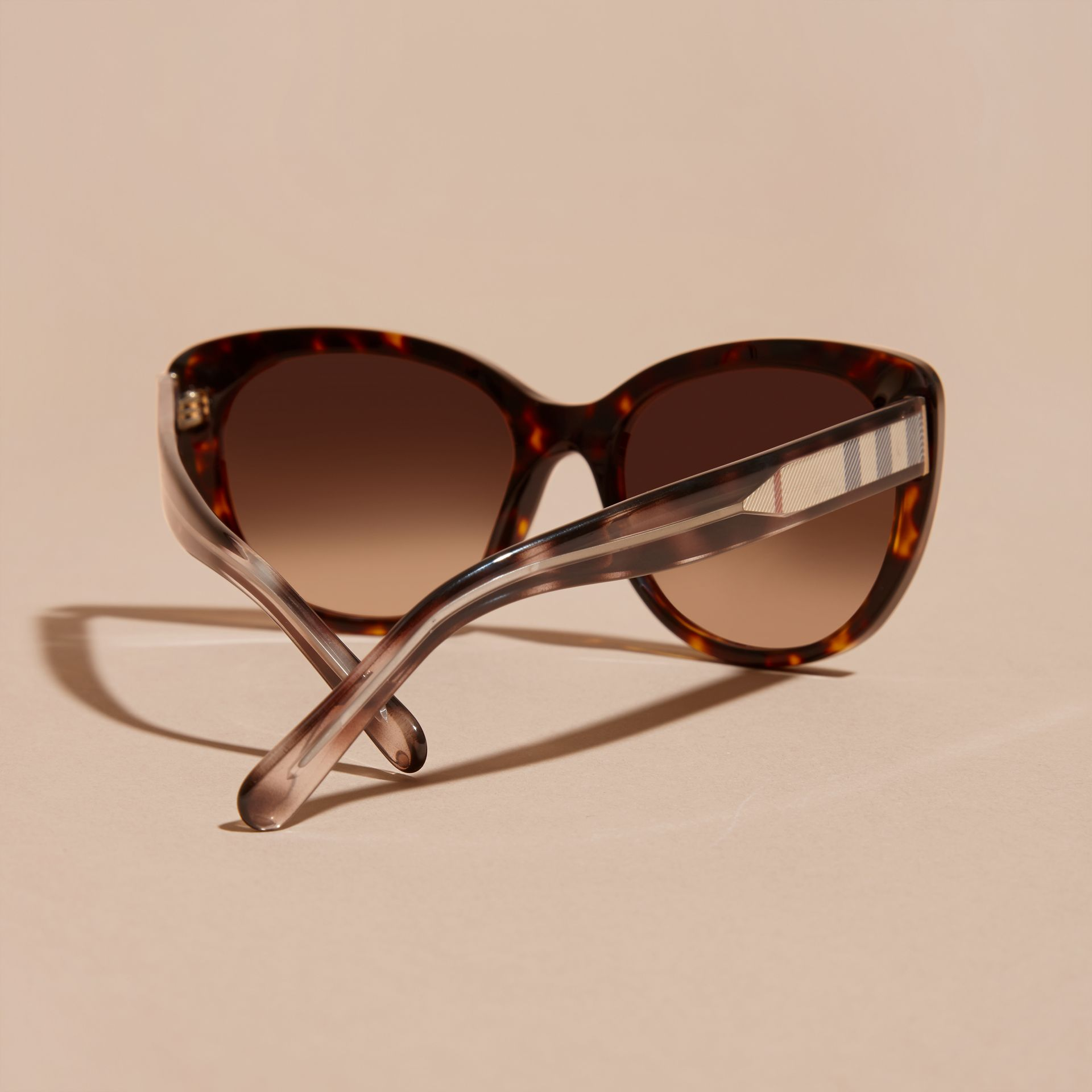 Check Detail Cat-eye Sunglasses in Light Russet Brown - Women | Burberry Canada - gallery image 3