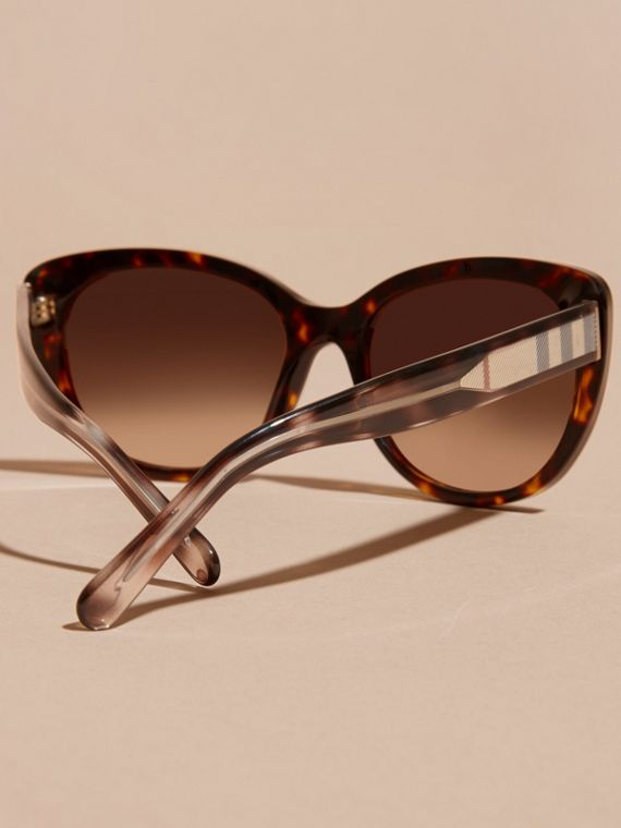 Check Detail Cat-eye Sunglasses in Light Russet Brown - Women | Burberry - cell image 3