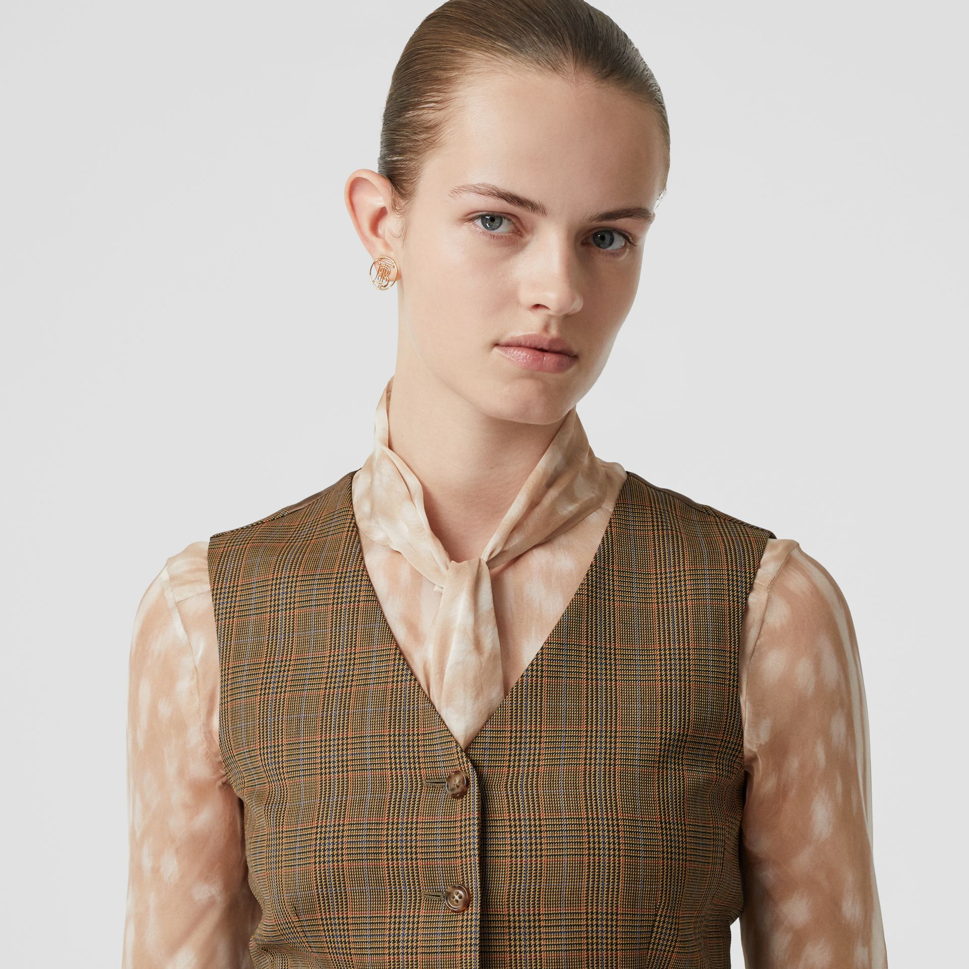 Houndstooth Check Wool Tailored Waistcoat in Fawn - Women | Burberry - gallery image 6