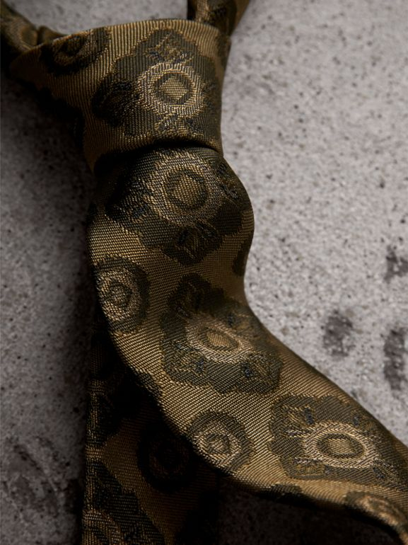 Slim Cut Tiled Floral Silk Jacquard Tie in Military Green - Men | Burberry - cell image 1