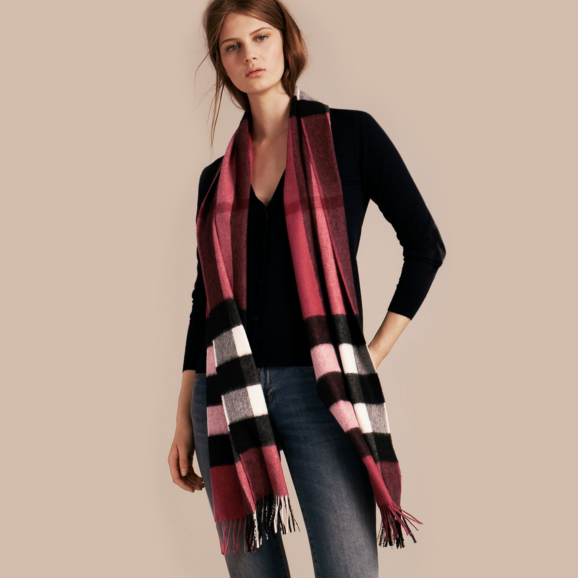 The Large Classic Cashmere Scarf in Check Fuchsia Pink - gallery image 3