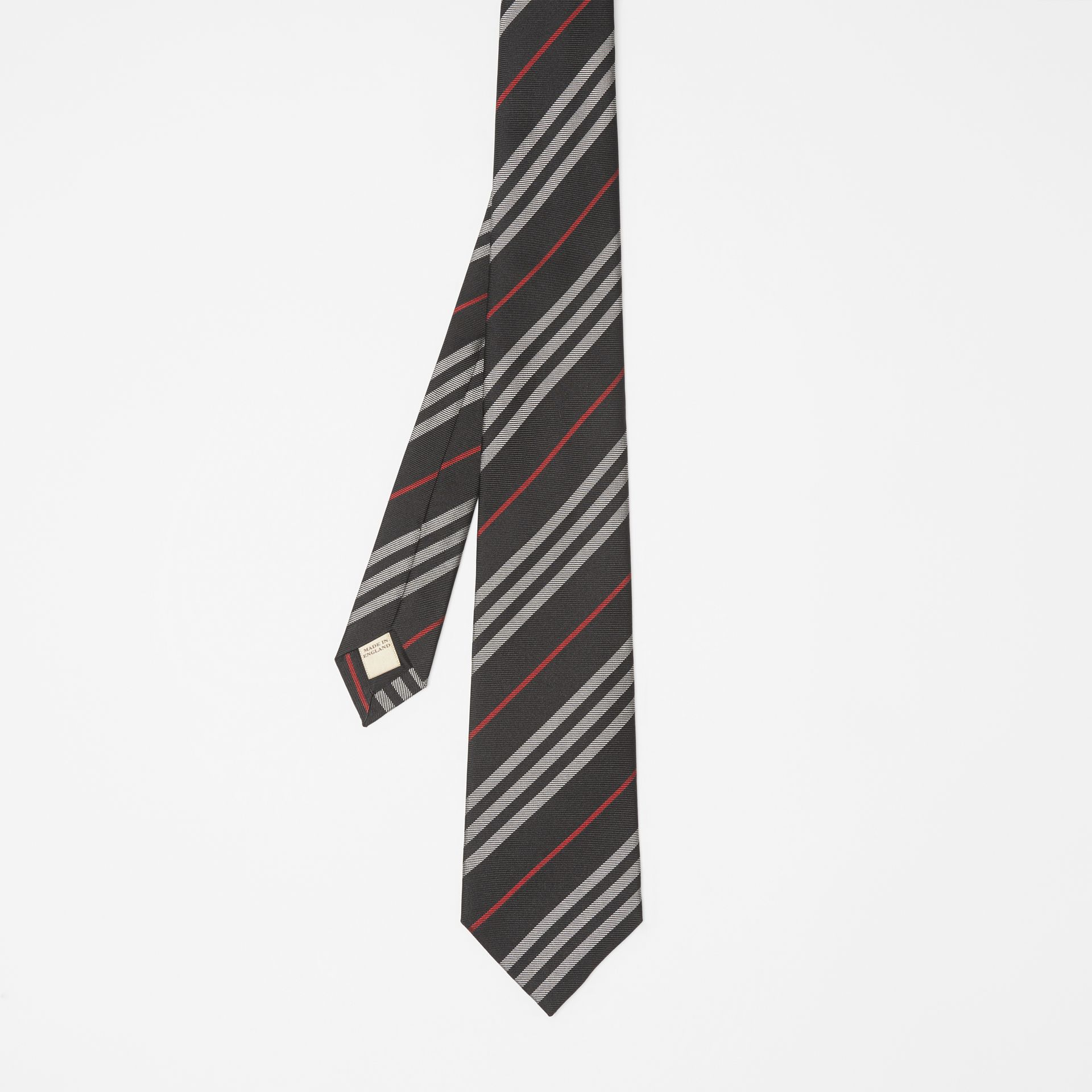 Classic Cut Striped Silk Jacquard Tie in Black - Men | Burberry United States - gallery image 4