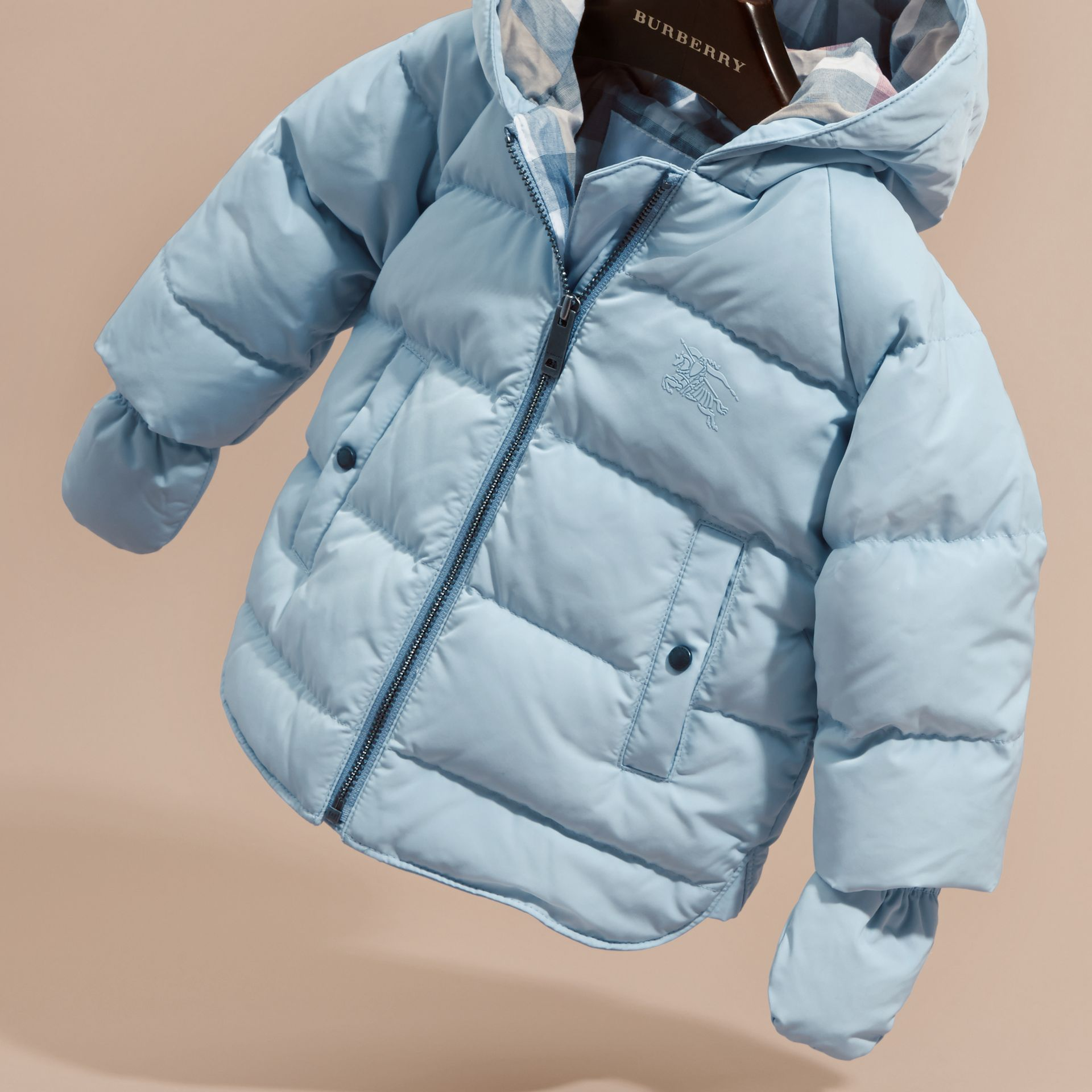 Hooded Down-filled Puffer Jacket with Mittens Ice Blue - gallery image 3