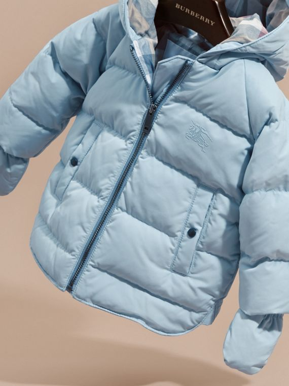 Hooded Down-filled Puffer Jacket with Mittens Ice Blue - cell image 2