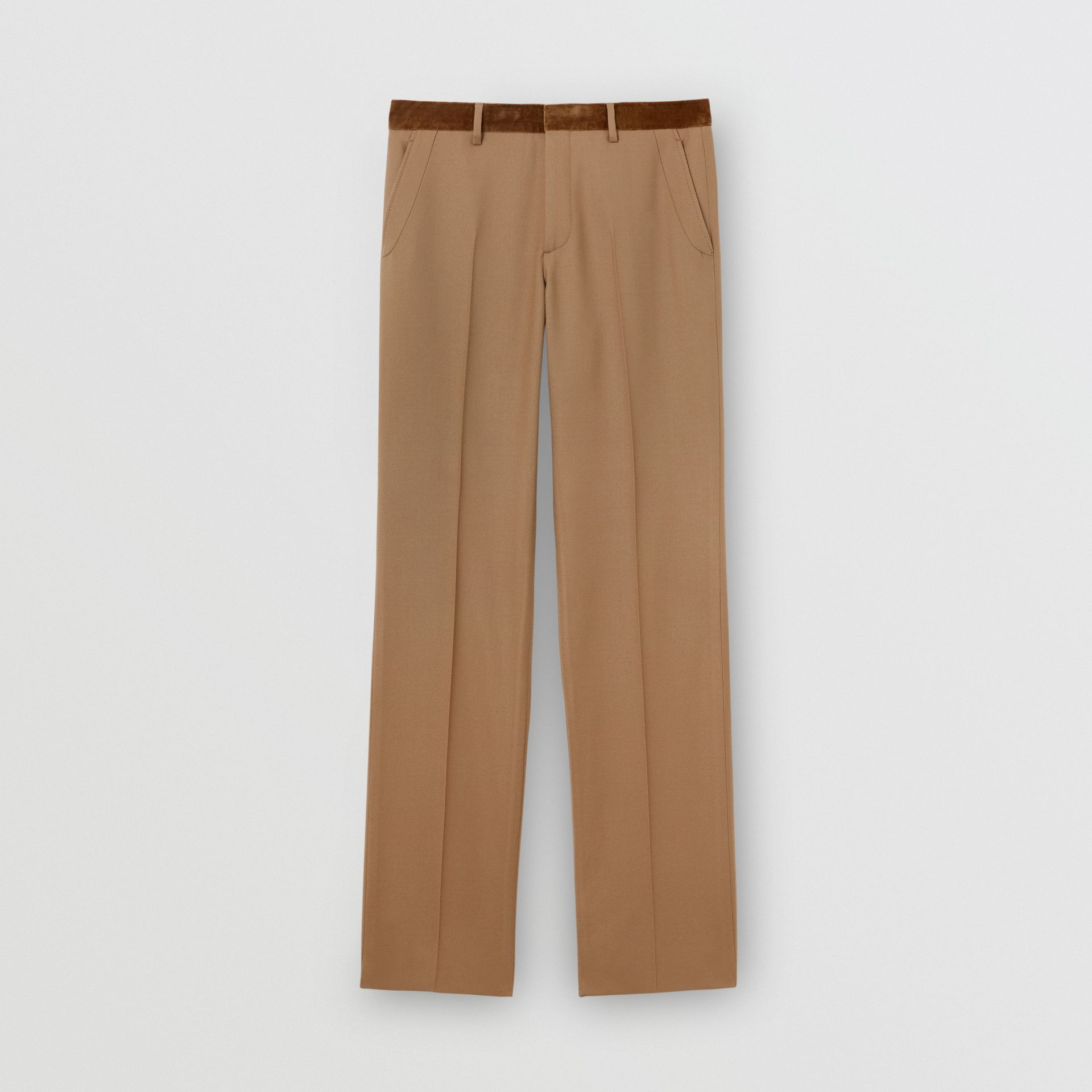 Wool Flannel Tailored Trousers in Warm Camel - Men | Burberry - gallery image 3