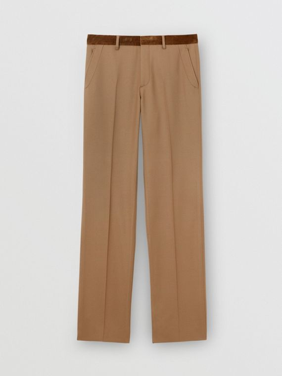 Wool Flannel Tailored Trousers in Warm Camel