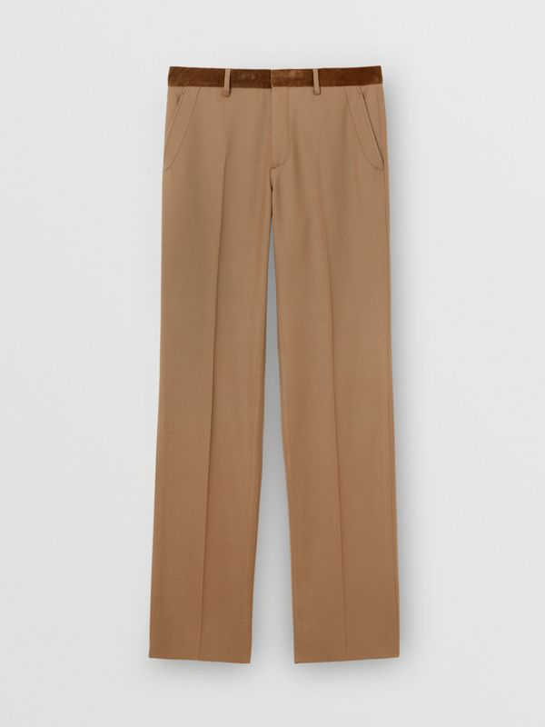 Wool Flannel Tailored Trousers in Warm Camel - Men | Burberry - cell image 3