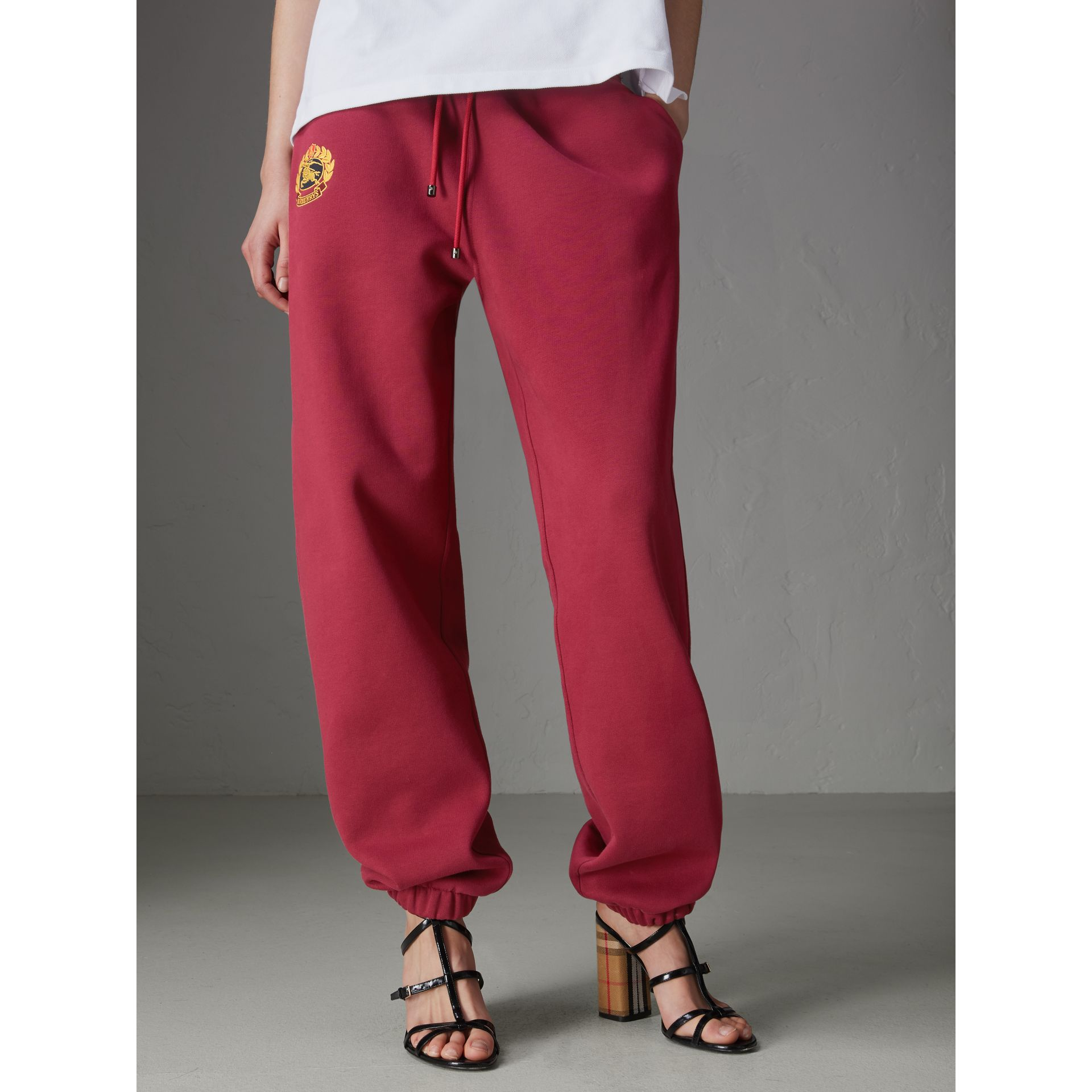 Archive Logo Jersey Sweatpants in Light Burgundy - Women | Burberry - gallery image 4