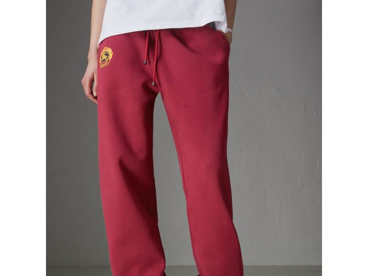 Archive Logo Jersey Sweatpants in Light Burgundy - Women | Burberry - cell image 4