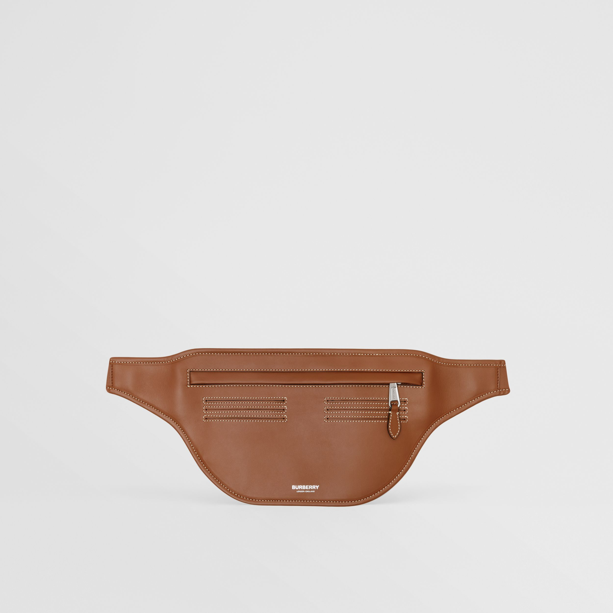 Topstitched Leather Brummell Bum Bag in Tan | Burberry - 1