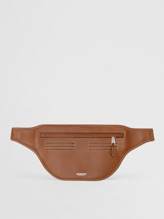 Topstitched Leather Brummell Bum Bag in Tan