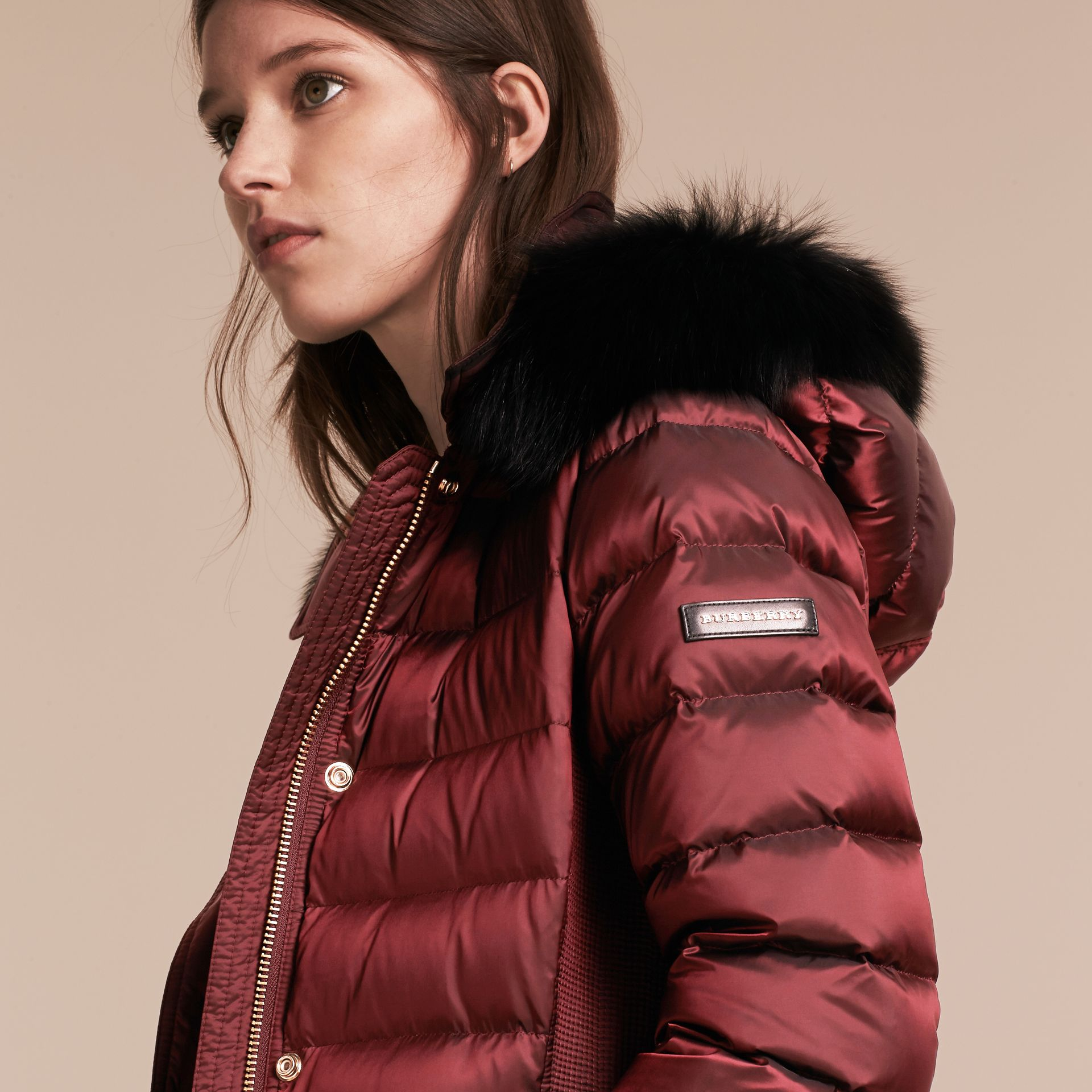 Down-filled Coat with Fox Fur Trim Hood in Burgundy - Women | Burberry - gallery image 5