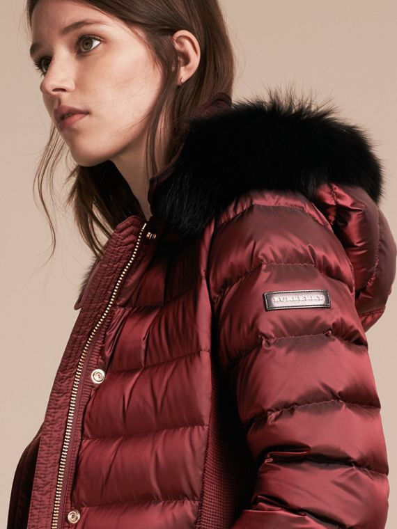Down-filled Coat with Fox Fur Trim Hood in Burgundy