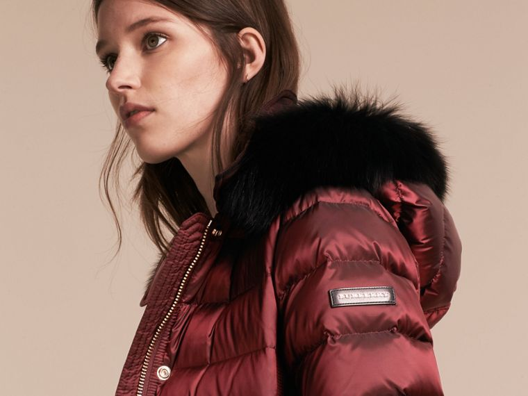 Down-filled Coat with Fox Fur Trim Hood in Burgundy - Women | Burberry - cell image 4