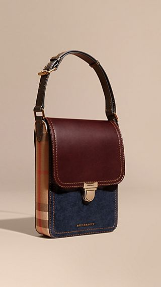 The Small Satchel aus Veloursleder in House Check
