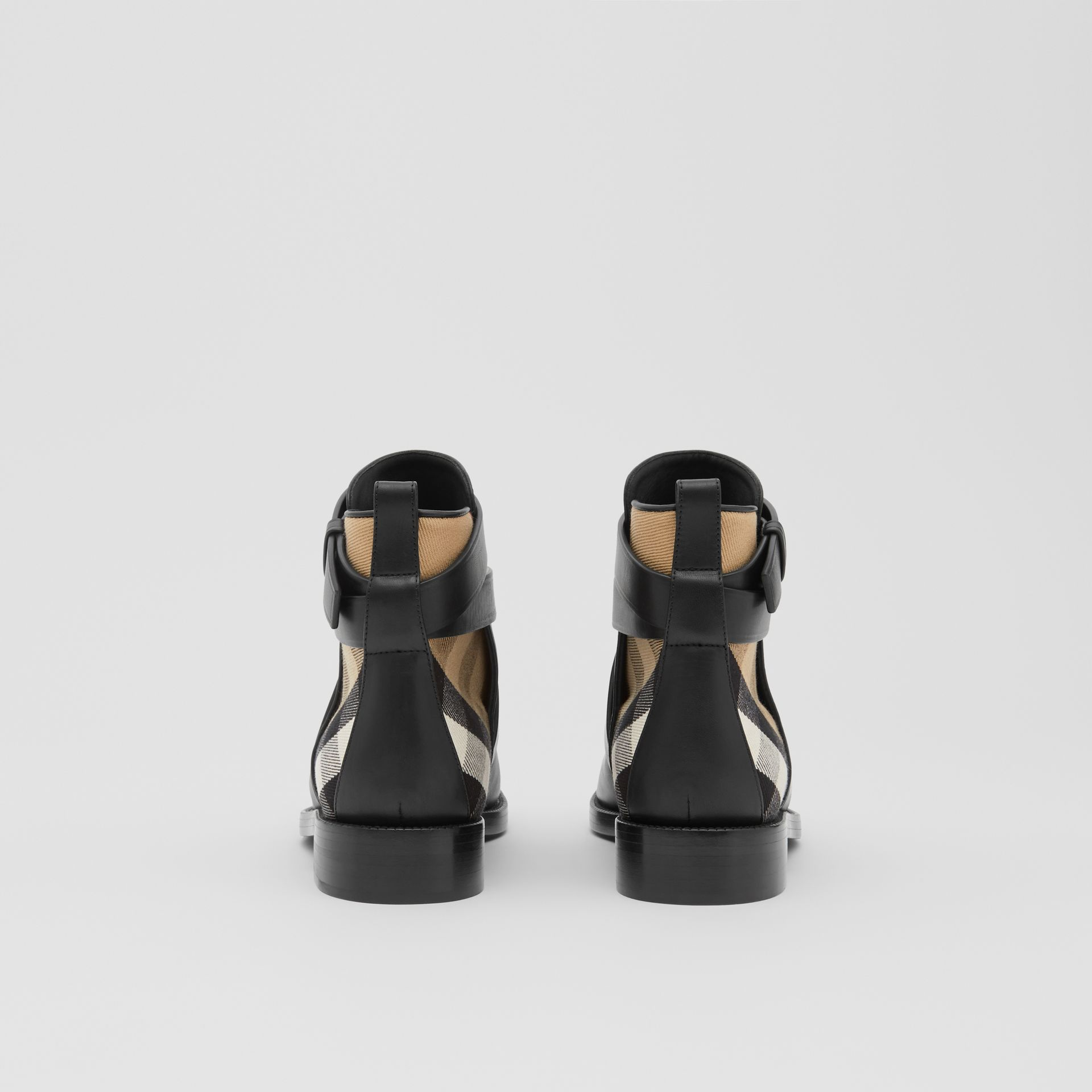 House Check and Leather Ankle Boots in Black/archive Beige - Women | Burberry United Kingdom - gallery image 3